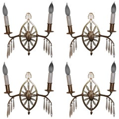 Beautiful Neoclassical Set Six French Bronze Crystal Caldwell Starburst Sconces