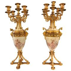 Fine Pair of Gilt Bronze and Porcelain Candelabra with Cherub Painting