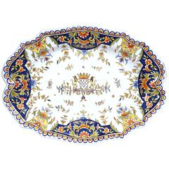 19th Century French Hand-Painted Faience Decorative Dish from Rouen Normandy