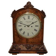 English Victorian Walnut Bracket Clock