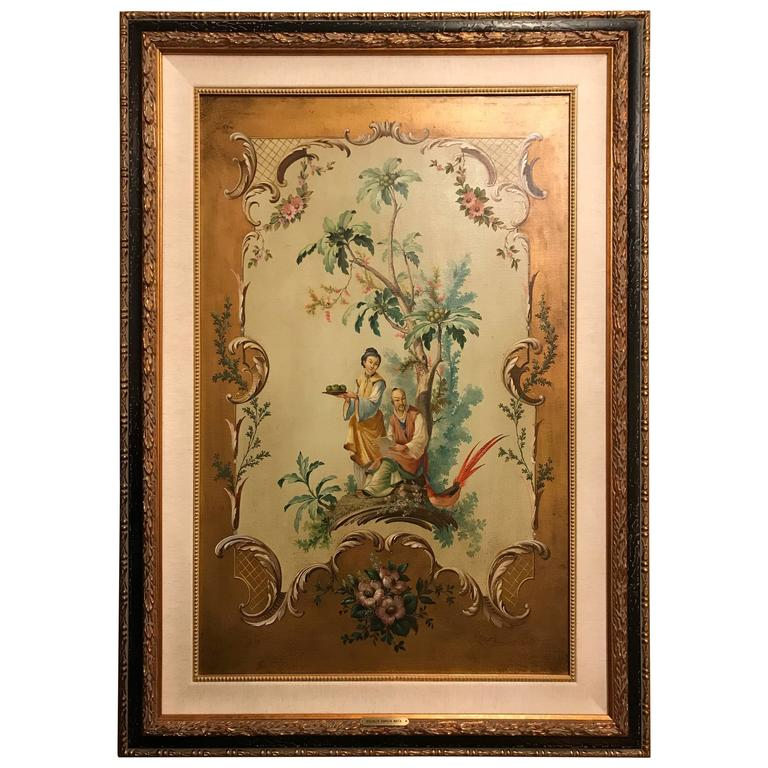 Vintage 1980s Chinoiserie Oil Wallpaper Panel Painting by Garcia Mata