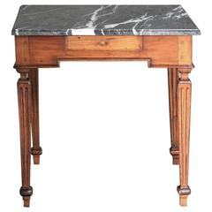 18th Century Country French Marble-Top Walnut End Table