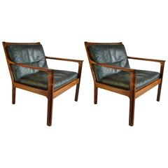 Rare Midcentury Frederick A Kayser Rosewood Easy Chairs