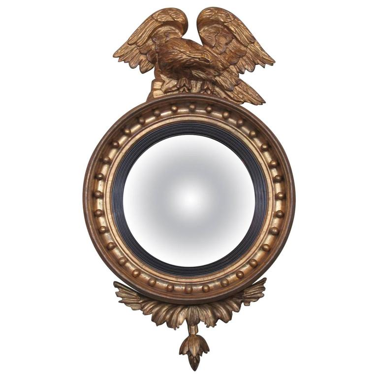 Early 19th Century English Regency Giltwood Convex Mirror with Displayed Eagle