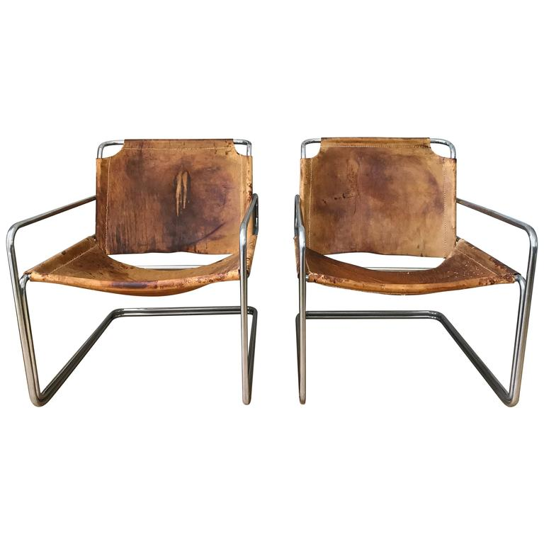 pair of french leather and chrome midcentury sling chairs 1