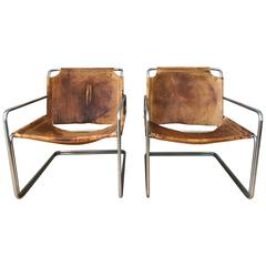 Pair of French Leather and Chrome Mid-Century Sling Chairs