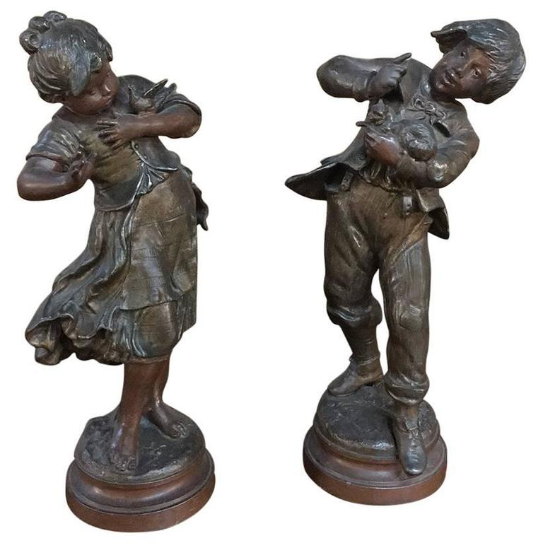 Pair of 19th Century Romantic Belle Epoque Spelter Statues by Auguste Moreau