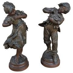 Pair of 19th Century Romantic Belle Epoque Spelter Statues by Auguste Moreau