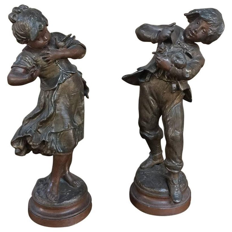 Pair of 19th Century Romantic Belle Epoque Spelter Statues by Auguste Moreau For Sale