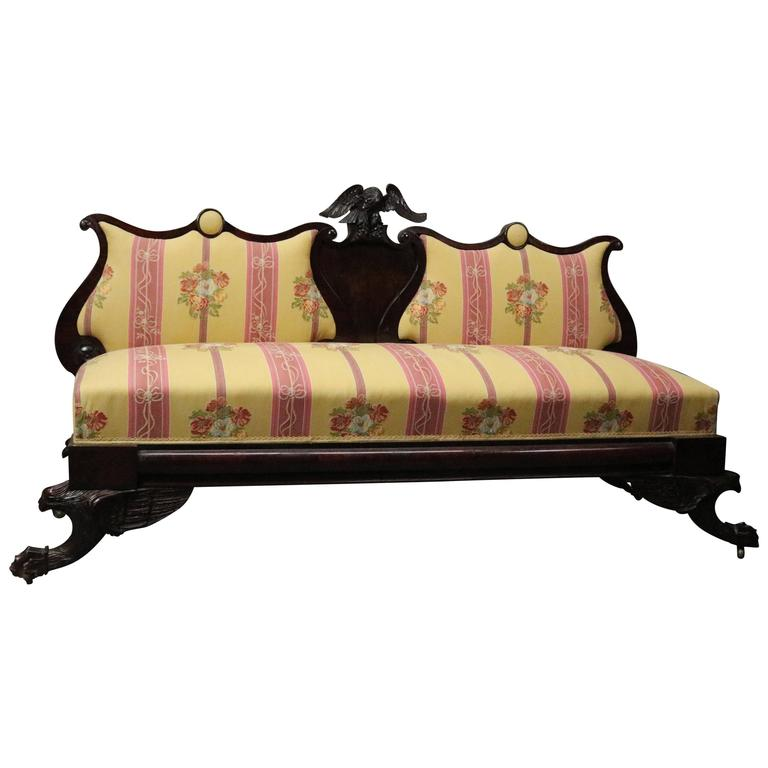 Antique American Empire Carved Mahogany Upholstered Sofa