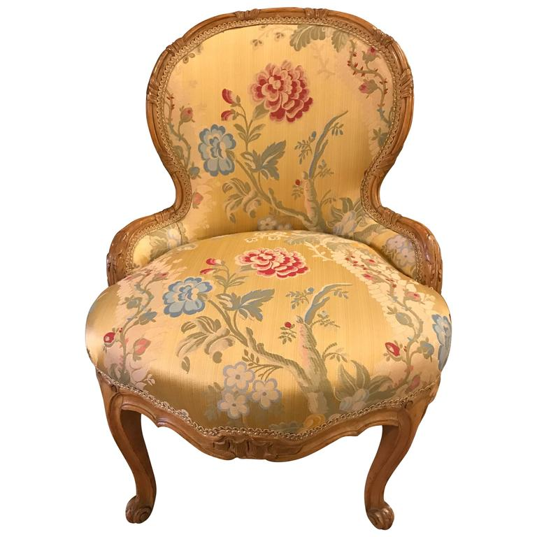 Louis XV Style Boudoir Chair with Two Tons of Gold Leaf