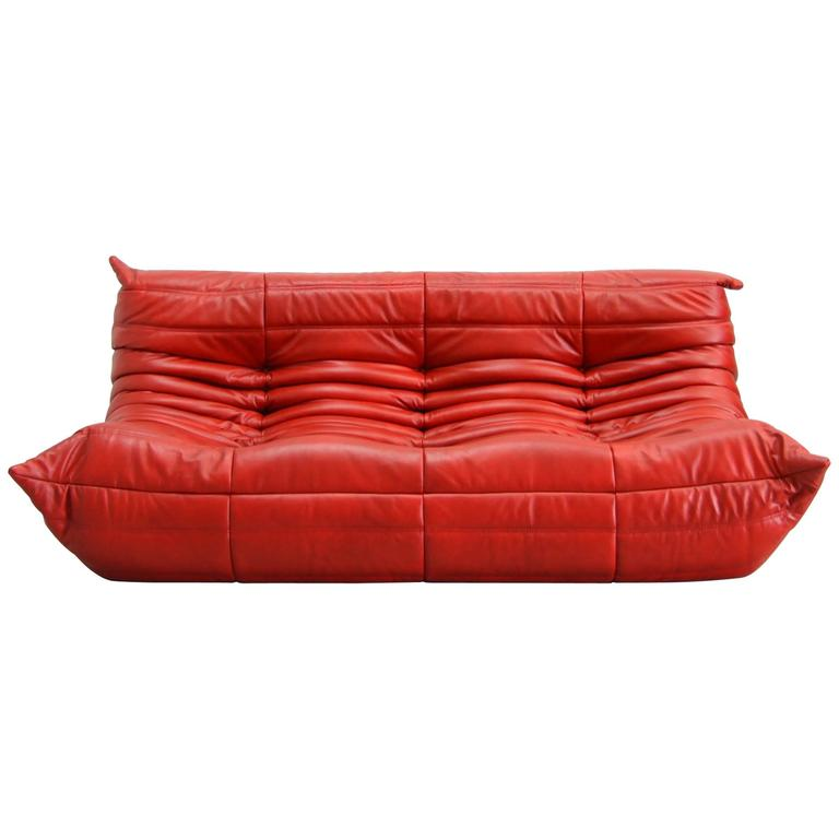 Red Leather Togo Sofa By Michel Ducaroy For Ligne Roset, 1974, Red Leather  Togo