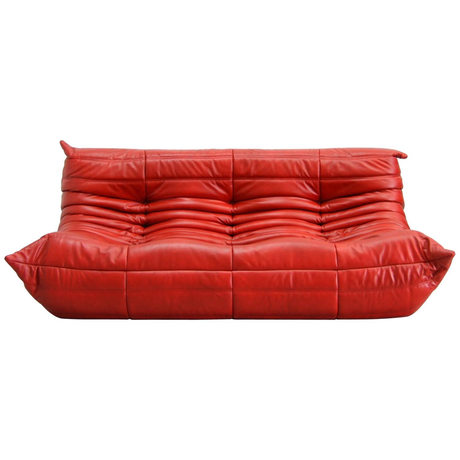 "Vintage Leather ""Togo"" Sofa by Michel Ducaroy at 1stdibs"
