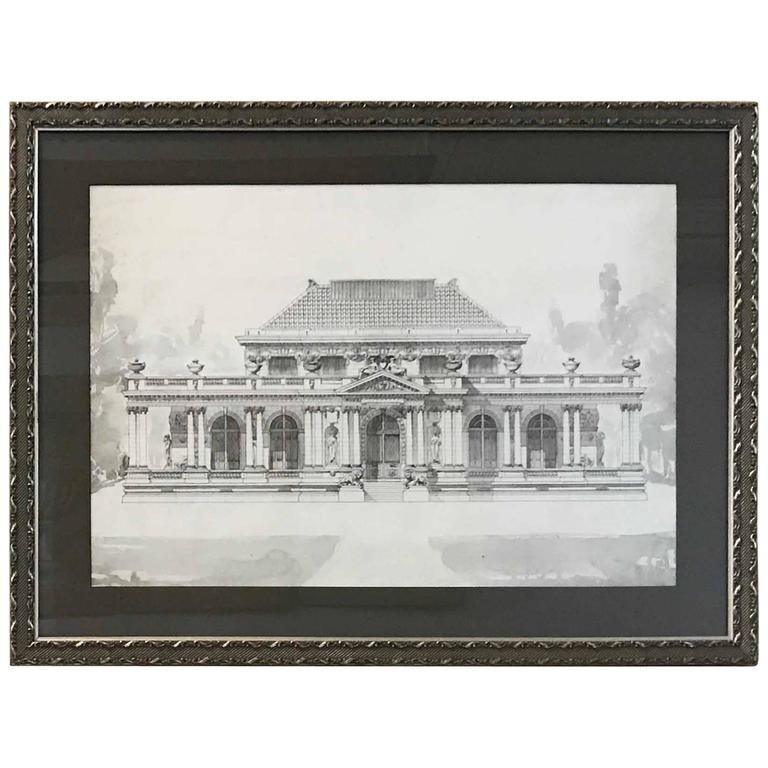 20th century architectural drawing with ink and watercolor for Architectural drawings for sale