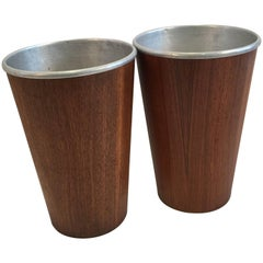 Pair of Wastebaskets with Metal Inserts by Martin Aberg for Servex