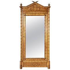 Early 20th Century Cherry and Bird'S-Eye Maple Faux Bamboo Armoire with Mirror