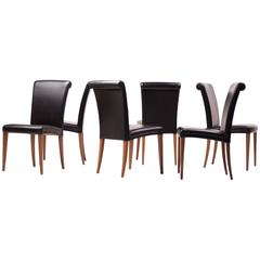 Set of Six Poltrona Frau Vittoria Leather Chairs