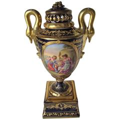 Royal Vienna Vase, Severes Style, Cobalt Blue with Raised Gold Decoration