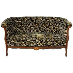French Art Deco Period Mahogany Sofa Settee with Lemonwood and Sycamore Inlay