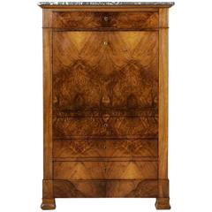 Louis Philippe Period Bookmatched Walnut Secretary with Marble Top and Leather