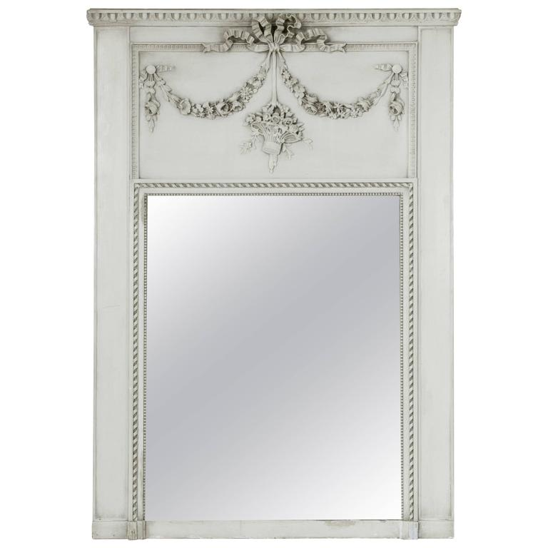 Early 20th Century Large Louis XVI Style Trumeau Mantle Mirror with Basket Motif