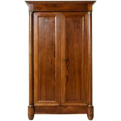 French Empire Period Small-Scale Walnut Armoire with Bronze Fittings