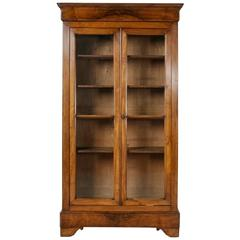 19th Century Louis Philippe Period Bookmatched Burl Walnut Bibliotheque Bookcase