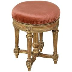 Mid-19th Century Louis XVI Style Giltwood Vanity Stool with Mohair Upholstery