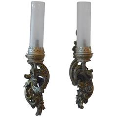 Two French 19th Century One Light Bronze Sconces