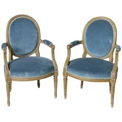18th Century Pair of Hand-Carved Louis XVI Period Painted Armchairs, Mohair