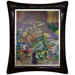 Leonel Maciel Whimsical Painting in a Massive Custom Frame