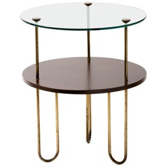 Art Deco Walnut Copper and Glass Gueridon