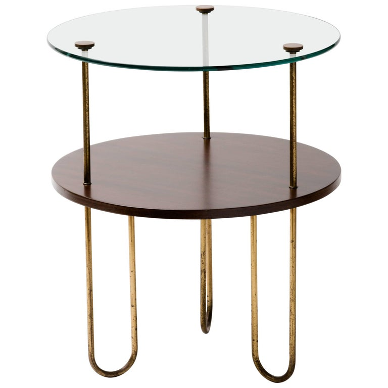 Art Deco Walnut Copper and Glass Gueridon For Sale