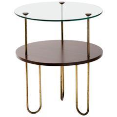 Art Deco Walnut Copper and Glass Gueridon