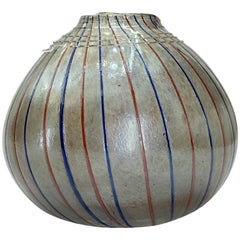 Handblown Art Glass Vase with Gold Flakes