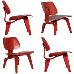 Charles and Ray Eames LCW Lounge Chair for Herman Miller, Set of Four