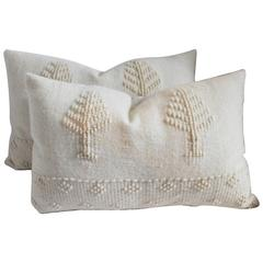Pair of Pictorial Alpaca / Lambs Wool Pictorial Handwoven Pillows