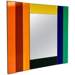 Ettore Sottsass for Glas Italia Geometric Mirror in Red Orange Yellow Blue Green