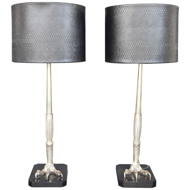 Pair of Bronze Silver Plated Talon Lamps