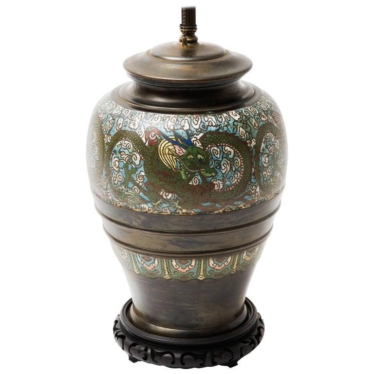Bronze Champlevé Dragon Cloisonné Lamp For Sale