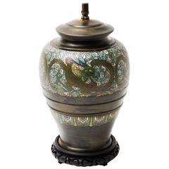Bronze Champlevé Dragon Cloisonné Lamp