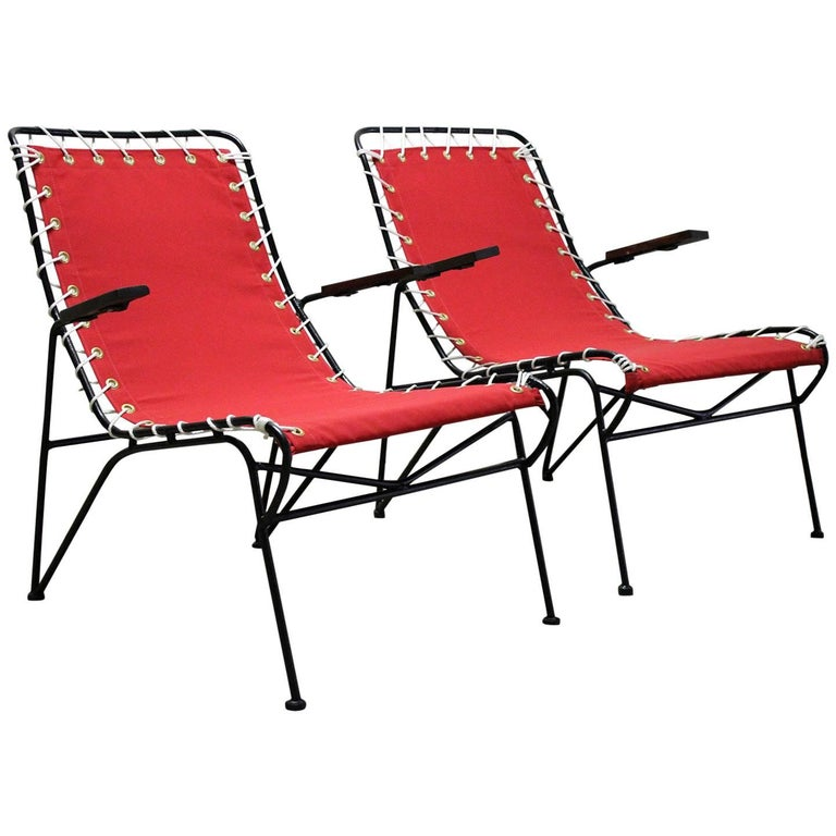 Pair of Pipsan Saarinen Swanson for Ficks Reed Outdoor Patio Armchairs