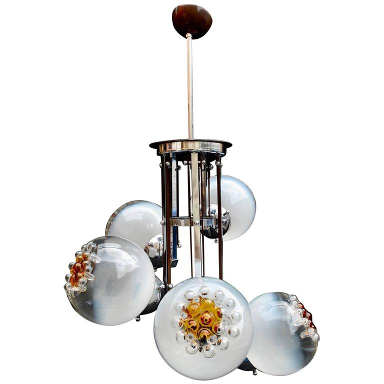 Elegant Handblown Murano Glass Chandelier by Mazzega