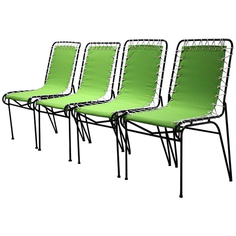 Set of Four Pipsan Saarinen Swanson for Ficks Reed Sitting Patio Outdoor Chairs For Sale