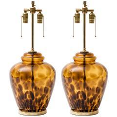 Tortoise Shell Glass Ginger Jar Lamps
