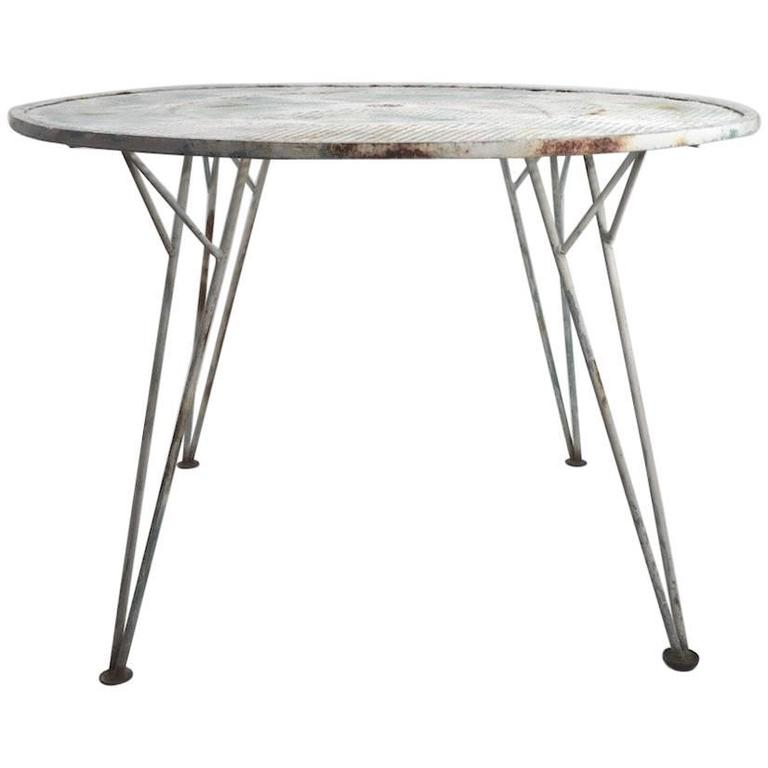 Architectural Metal Mesh Garden Dining Table Attributed to Salterini