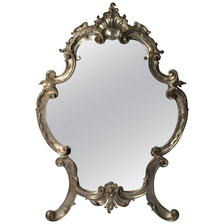 Hollywood regency large italian rococo easel back table for Silver mirrors for sale