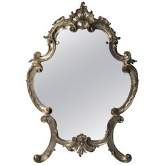 Hollywood Regency Large Italian Rococo Easel Back Table Mirror in Silver Metal