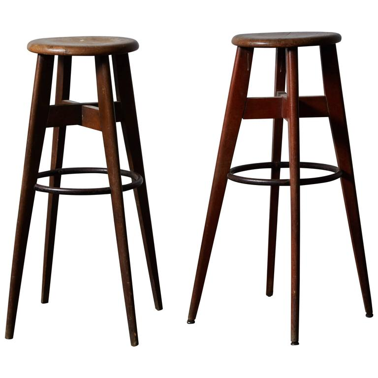 Modernist French Bar Stools In The Style Of Jean Prouv 233 At