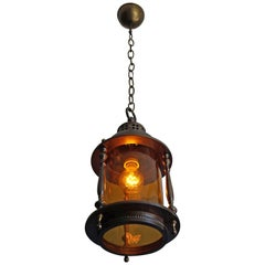 Arts and Crafts Brass and Amber Glass Pendant / Entrance Ceiling Lamp